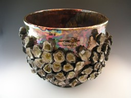 Raku barnacle bowl from Eclectikos Pottery